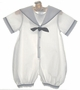 "<img src=""https://p11.secure.hostingprod.com/@grammies-attic.com/ssl/images/blue-sold-1.gif""> NEW Sophie Dess White Striped Sailor Romper with Navy Trim"