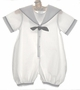 "<img src=""https://p11.secure.hostingprod.com/@grammies-attic.com/ssl/images/blue-sold-1.gif""> Sophie Dess White Batiste Sailor Romper with Navy Trim"