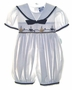 "<img src=""https://p11.secure.hostingprod.com/@grammies-attic.com/ssl/images/blue-sold-1.gif""> NEW Carriage Boutiques White Smocked Sailor Bubble with Embroidered Boats"