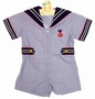 Vintage Navy Striped Sailor Shortall with Zip Up Front