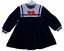 "<img src=""https://p11.secure.hostingprod.com/@grammies-attic.com/ssl/images/blue-sold-1.gif""> Petit Jardin Navy Velour Sailor Dress with Red Satin Bow"