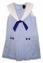 "<img src=""https://p11.secure.hostingprod.com/@grammies-attic.com/ssl/images/blue-sold-1.gif""> NEW Chelsea's Corner Blue Linen Pleated Sleeveless Sailor Dress with White Collar"