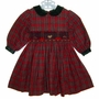 "<img src=""https://p11.secure.hostingprod.com/@grammies-attic.com/ssl/images/blue-sold-1.gif""> Just Friends Red Plaid Smocked Toddler Dress with Green Velvet Collar"