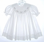 "<img src=""https://p11.secure.hostingprod.com/@grammies-attic.com/ssl/images/blue-sold-1.gif""> Petit Ami White Smocked Bishop Dress with Holly Embroidered Portrait Collar"