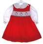 "<img src=""https://p11.secure.hostingprod.com/@grammies-attic.com/ssl/images/blue-sold-1.gif""> House of Hatten Red Corduroy Smocked Baby Jumper and Blouse with Wreaths Embroidery"