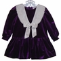 "<img src=""https://p11.secure.hostingprod.com/@grammies-attic.com/ssl/images/blue-sold-1.gif""> Special Occasion Purple Velour Dress with Lacy White Collar"