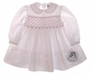 "<img src=""https://p11.secure.hostingprod.com/@grammies-attic.com/ssl/images/blue-sold-1.gif""> NEW Sarah Louise White Smocked Baby Dress with Red Rosebuds"