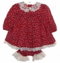 "<img src=""https://p11.secure.hostingprod.com/@grammies-attic.com/ssl/images/blue-sold-1.gif""> C. I. Castro Burgundy Flowered Baby Dress and Bloomers with Cream Lace Trim"