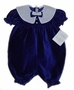 "<img src=""https://p11.secure.hostingprod.com/@grammies-attic.com/ssl/images/blue-sold-1.gif""> NEW Feltman Brothers Blue Dotted Velvet Baby Bubble with White Organdy Collar"