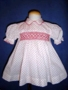 Custom Made White Flowered Dress with Red Smocking