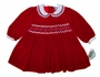 "<img src=""https://p11.secure.hostingprod.com/@grammies-attic.com/ssl/images/blue-sold-1.gif""> NEW Carriage Boutiques Dark Red Velvet Smocked Baby Dress with White Lace Edged Collar"