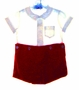 "<img src=""https://p11.secure.hostingprod.com/@grammies-attic.com/ssl/images/blue-sold-1.gif""> Florence Eiseman Red Velvet Button On Shorts Set with White Shirt"