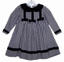 "<img src=""https://p11.secure.hostingprod.com/@grammies-attic.com/ssl/images/blue-sold-1.gif""> Good Lad Black and White Checked Baby Dress with Black Velvet Collar"