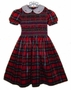 "<img src=""https://p11.secure.hostingprod.com/@grammies-attic.com/ssl/images/blue-sold-1.gif""> NEW Marks and Spencer Red Plaid Taffeta Smocked Little Girls Holiday Dress"