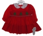 "<img src=""https://p11.secure.hostingprod.com/@grammies-attic.com/ssl/images/blue-sold-1.gif""> NEW Rosey Kids Red Smocked Baby Dress with Christmas Tree Embroidery"