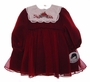"<img src=""https://p11.secure.hostingprod.com/@grammies-attic.com/ssl/images/blue-sold-1.gif""> NEW Sarah Louise Dark Red Baby Dress with Embroidered White Collar"