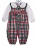 "<img src=""https://p11.secure.hostingprod.com/@grammies-attic.com/ssl/images/blue-sold-1.gif""> Petit Ami Red and Green Plaid Smocked Baby Bubble with Embroidered Collar"