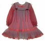 "<img src=""https://p11.secure.hostingprod.com/@grammies-attic.com/ssl/images/blue-sold-1.gif"">  Red Striped Little Girls Dress with White Lace Trimmed Pinafore"