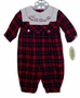 "<img src=""https://p11.secure.hostingprod.com/@grammies-attic.com/ssl/images/blue-sold-1.gif""> NEW Carriage Boutiques Red Plaid Baby Romper with Train Embroidery"