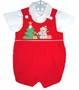 "<img src=""https://p11.secure.hostingprod.com/@grammies-attic.com/ssl/images/blue-sold-1.gif""> Red Velvet Baby Shortall with Teddy Bear Applique and White Shirt"