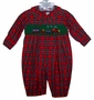 "<img src=""https://p11.secure.hostingprod.com/@grammies-attic.com/ssl/images/blue-sold-1.gif""> NEW House of Hatten Red Plaid Smocked Baby Longall with Train Embroidery"