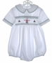 "<img src=""https://p11.secure.hostingprod.com/@grammies-attic.com/ssl/images/blue-sold-1.gif""> Orient Expressed White Smocked Baby Bubble with Santa Embroidery"