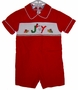 "<img src=""https://p11.secure.hostingprod.com/@grammies-attic.com/ssl/images/blue-sold-1.gif""> House of Hattan Red Corduroy Smocked Baby Shortall with Joy Embroidery"