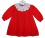 "<img src=""https://p11.secure.hostingprod.com/@grammies-attic.com/ssl/images/blue-sold-1.gif""> NEW Petit Ami Red Pleated Baby Dress with Embroidered Portrait Collar"