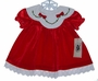 "<img src=""https://p11.secure.hostingprod.com/@grammies-attic.com/ssl/images/blue-sold-1.gif""> NEW Good Lad Red Velour Baby Dress with Holly Embroidery"