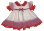 "<img src=""https://p11.secure.hostingprod.com/@grammies-attic.com/ssl/images/blue-sold-1.gif""> Red and White Dotted Pinafore Style Dress with Red Ribbon Insertion"