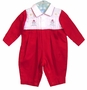 "<img src=""https://p11.secure.hostingprod.com/@grammies-attic.com/ssl/images/blue-sold-1.gif""> NEW Will'Beth Red and White Cotton Romper with Snowman Embroidery"