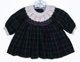 "<img src=""https://p11.secure.hostingprod.com/@grammies-attic.com/ssl/images/blue-sold-1.gif""> Carriage Boutiques Green Plaid Smocked Baby Dress with White Embroidered Collar"