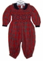 "<img src=""https://p11.secure.hostingprod.com/@grammies-attic.com/ssl/images/blue-sold-1.gif""> Lord and Taylor Red Plaid Smocked Baby Romper with Navy Velvet Collar"