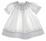 "<img src=""https://p11.secure.hostingprod.com/@grammies-attic.com/ssl/images/blue-sold-1.gif""> NEW Feltman Brothers White Bishop Smocked Dress with Red and Green Embroidery"
