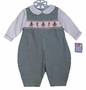 "<img src=""https://p11.secure.hostingprod.com/@grammies-attic.com/ssl/images/blue-sold-1.gif""> NEW Petit Ami Green Checked Smocked Romper with Gingerbread Embroidery"