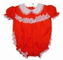 "<img src=""https://p11.secure.hostingprod.com/@grammies-attic.com/ssl/images/blue-sold-1.gif""> NEW Bryan Red Ruffle Bottom Romper with White Lace Trim"