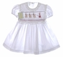 "<img src=""https://p11.secure.hostingprod.com/@grammies-attic.com/ssl/images/blue-sold-1.gif""> NEW Garden of Angels White Smocked Baby Dress with Santa Embroidery"