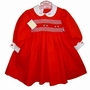 "<img src=""https://p11.secure.hostingprod.com/@grammies-attic.com/ssl/images/blue-sold-1.gif""> NEW Garden of Angels Red Smocked Dress with White Embroidered Collar"
