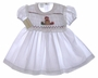 "<img src=""https://p11.secure.hostingprod.com/@grammies-attic.com/ssl/images/blue-sold-1.gif""> NEW Garden of Angels White Smocked Baby Dress with Teddy Bear Embroidery"