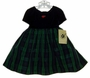 "<img src=""https://p11.secure.hostingprod.com/@grammies-attic.com/ssl/images/blue-sold-1.gif""> NEW Good Lad Green Plaid Taffeta Toddler Dress with Navy Velvet Top"