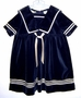 Vintage Navy Blue Velvet Sailor Dress with Antique White Satin Trim