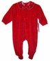 "<img src=""https://p11.secure.hostingprod.com/@grammies-attic.com/ssl/images/blue-sold-1.gif""> NEW Samara Red Velour Footed Baby Romper with Embroidered Collar"