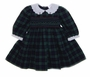 "<img src=""https://p11.secure.hostingprod.com/@grammies-attic.com/ssl/images/blue-sold-1.gif""> Sophie Dess Navy and Green Plaid Smocked Baby Dress with White Scalloped Collar"