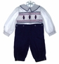 "<img src=""https://p11.secure.hostingprod.com/@grammies-attic.com/ssl/images/blue-sold-1.gif""> Strasburg Navy and White Smocked Button On Knickers Set with Embroidered Nutcrackers"