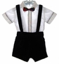 "<img src=""https://p11.secure.hostingprod.com/@grammies-attic.com/ssl/images/blue-sold-1.gif""> Baby Togs Black Velvet Suspender Shorts Set with White Shirt and Red Plaid Bowtie"