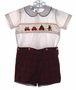 "<img src=""https://p11.secure.hostingprod.com/@grammies-attic.com/ssl/images/blue-sold-1.gif""> Silly Goose Red Plaid Button On Shorts Set with Smocked Shirt with Holiday Embroidery"