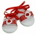 NEW Will'Beth Red and White Baby Sandals with Ribbon Roses