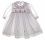"<img src=""https://p11.secure.hostingprod.com/@grammies-attic.com/ssl/images/blue-sold-1.gif""> NEW Will'Beth White Voile Smocked Dress with Embroidered Christmas Trees"