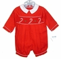 "<img src=""https://p11.secure.hostingprod.com/@grammies-attic.com/ssl/images/blue-sold-1.gif""> NEW Rosie Kids Red Smocked Romper with Candy Cane Embroidery"