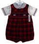 "<img src=""https://p11.secure.hostingprod.com/@grammies-attic.com/ssl/images/blue-sold-1.gif""> NEW Feltman Brothers Red Plaid Smocked Shortall Set with Embroidered Scottie Dogs"